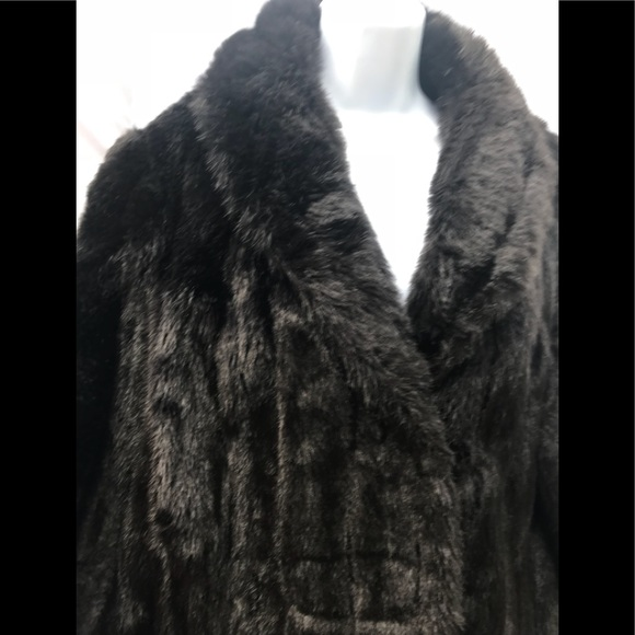 8ada4f274ccec 70's Vintage Faux Black Mink Fur Coat Retro
